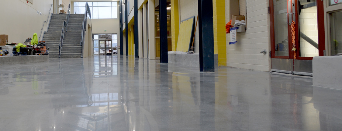 Consurco concrete polish for meridian highschool for Commercial flooring contractors